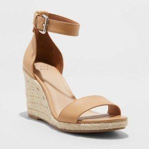 A New Day Lola Strap Espadrille Wedge Tan